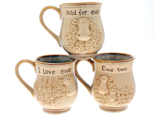 Pottery Sheep Mugs