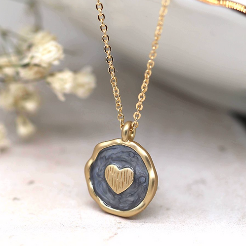Pearlescent grey enamel and golden heart necklace