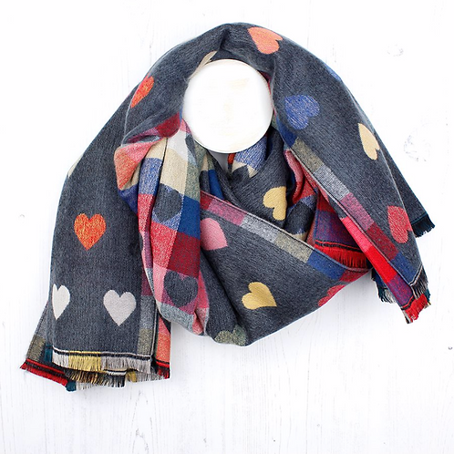 Grey Mix Heart Pattern Winter Scarf
