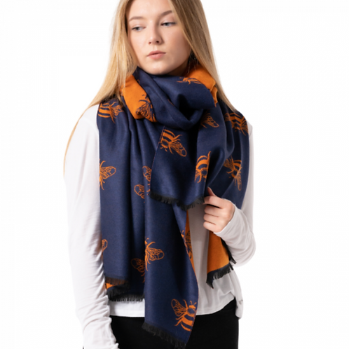 Bees Scarf-Navy