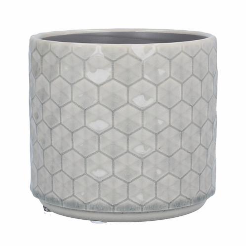 Grey Honeycomb Ceramic Pot Cover-Sml