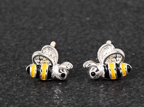 Girls Silver Plated Bumble Bee Earrings-Landscape