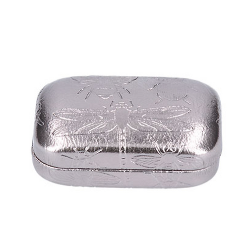 Mini PU Hard Case - Silver/Emb. Insects