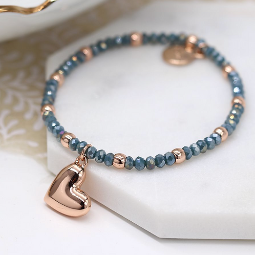 Rose gold and blue bead bracelet with rose gold heart