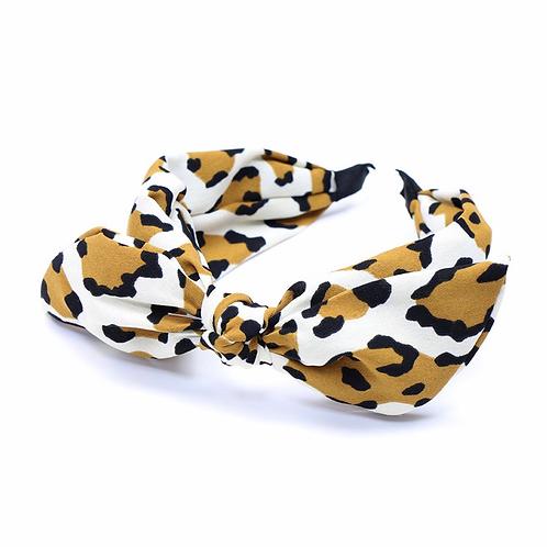 Tan and cream animal print bow headband
