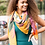 Thumbnail: Vibrant graphic flower print scarf in mustard and orange