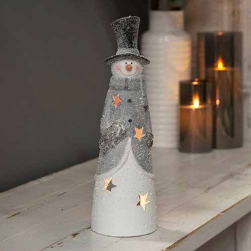 SNOW DUSTED SNOWMAN CANDLE HOLDER DECORATION - 31CM