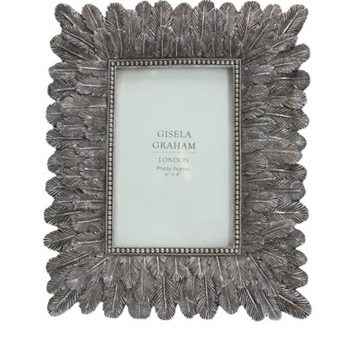 Resin Photo Frame (4x6) - Silver/Feathers