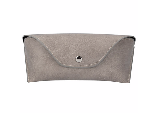 Leather Effect Glasses Case - Light Grey/Soft