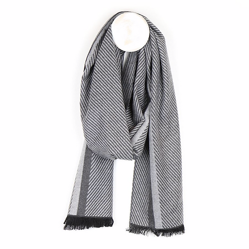 Men's grey mix herringbone stripe scarf