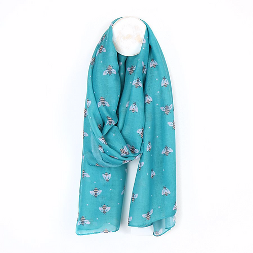 Recycled turquoise scarf with bumblebee print