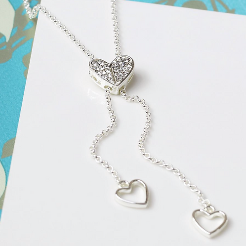Silver Plated Crystal Heart Lariat Necklace
