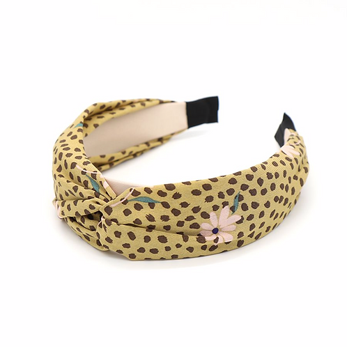 Khaki fabric headband with taupe dot print and pink flowers
