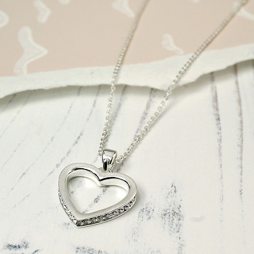 Silver Plated Crystal Edged Heart Necklace