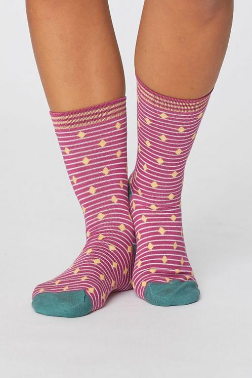 Gilly Spot Ladies Bamboo Socks-Magenta Pink