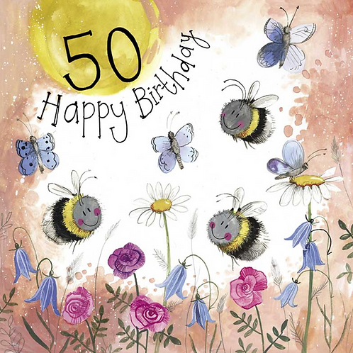 Sunshine 50th Birthday Bee Card