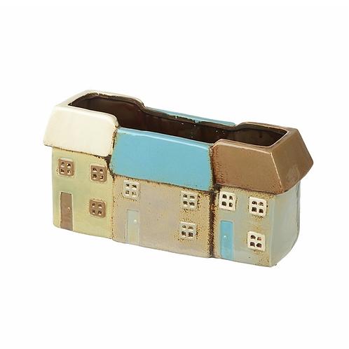 Triple Ceramic Houses Planter