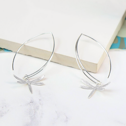 Silver Plated Dragonfly And Ellipse Earrings