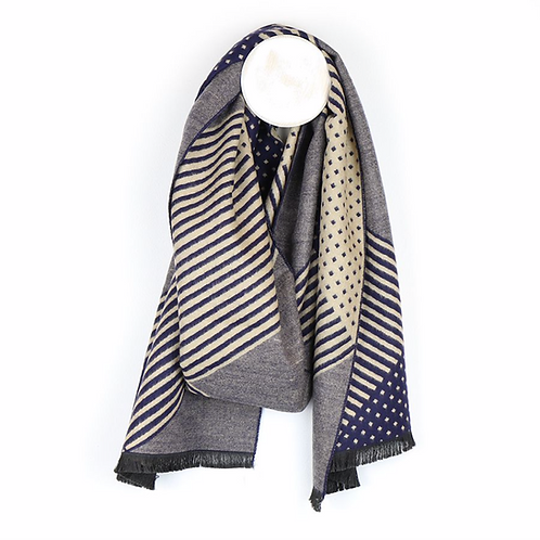 Men's navy mix stripes and dots scarf
