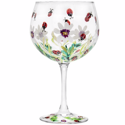 Hand Painted Ladybirds Gin Glass