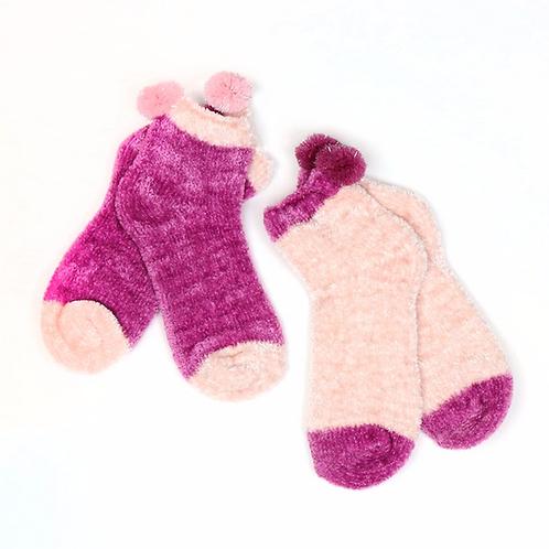 Pink and mauve pom-pom socks