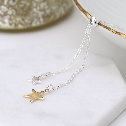 Silver and gold plated double star lariat necklace