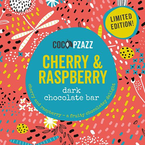 Cherry & Raspberry Dark Chocolate Bar 80g