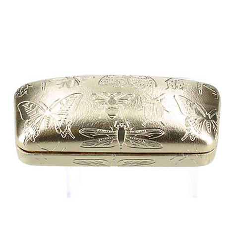 PU Luxe Glasses Case - Gold/Emb. Insects