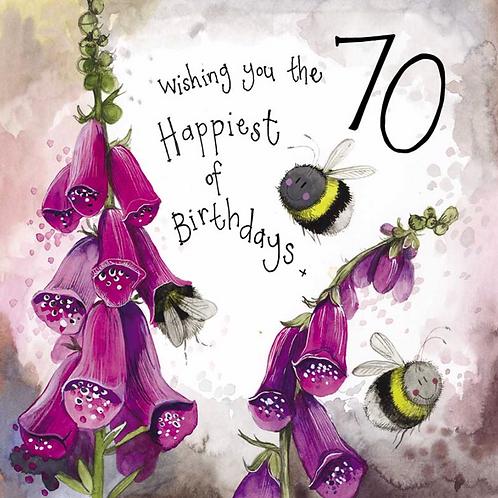 Sunshine 70th Bee Birthday Card