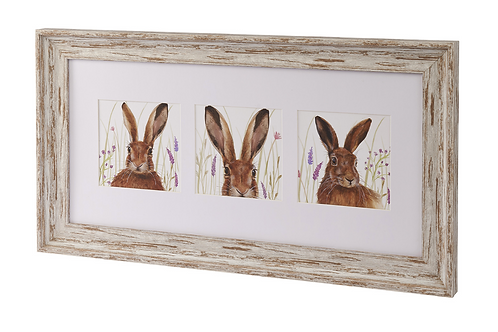 3 HARE FRAMED PLAQUE