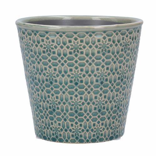 Ceramic Pot Cover 13.5cm - Blue Mosaic