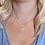 Thumbnail: Silver plated double layer star disc crystal necklace
