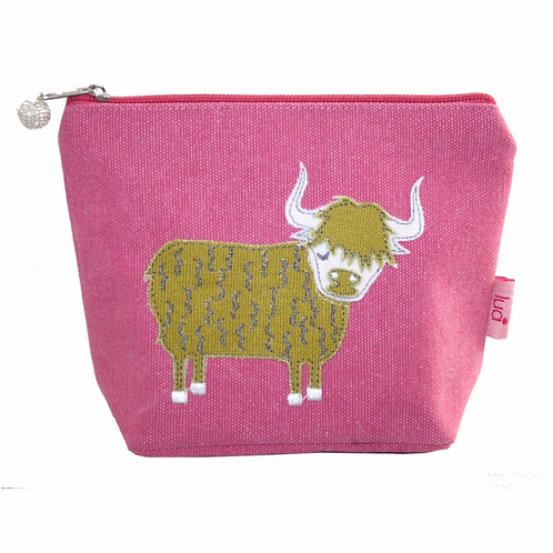 Highland Colourful Cow Small Cosmetic Purse-Pink