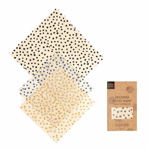 Beeswax Food Wraps – Dalmatian Pattern – 3 Pack (2x Medium, 1x Large)