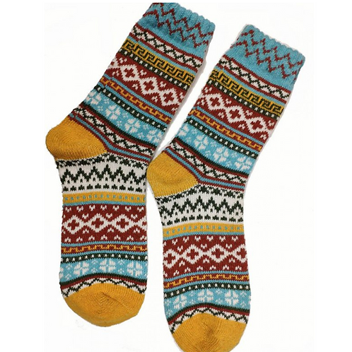 YELLOW ORKNEY FAIRISLE WOOL BLEND SOCKS