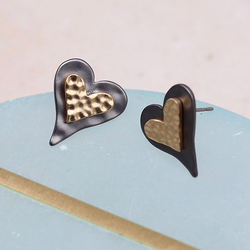Black and golden hammered heart stud earrings