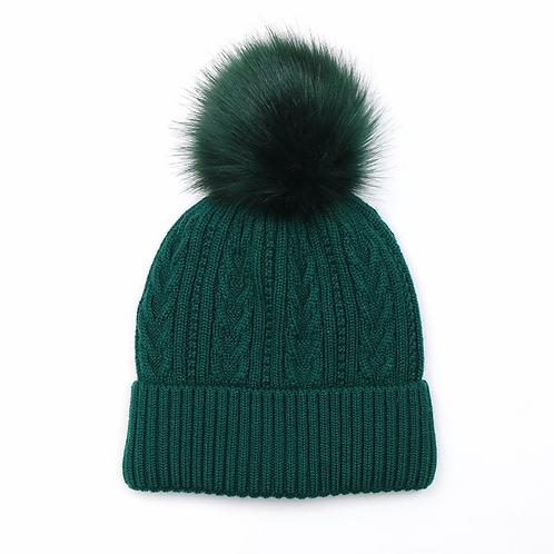 Green cable knit faux fur bobble hat