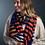 Thumbnail: Navy, orange and pink circle stripe scarf