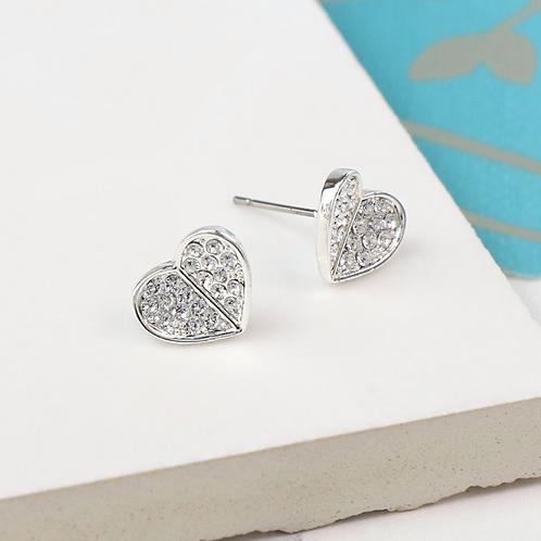 Silver Plated Crystal Folded Heart Earrings