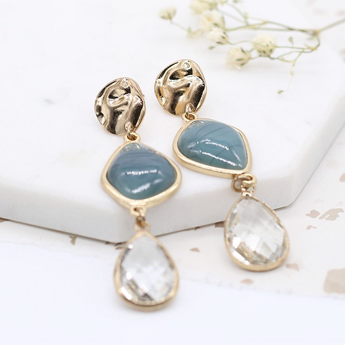 Gold plated mixed stone and crystal drop earrings