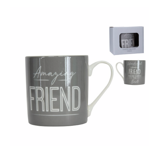 Boxed Sentiment Mug - Dark Grey/Friend