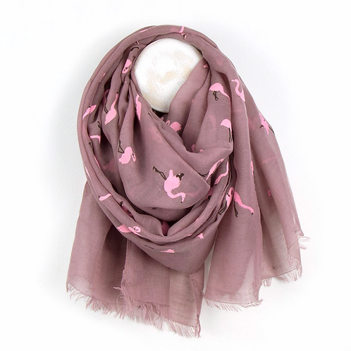 Dusk Pink Scarf With Pink Flock Flamingo Print