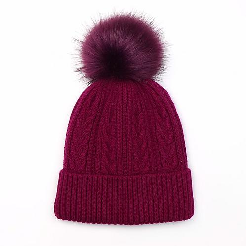 Magenta cable knit faux fur bobble hat
