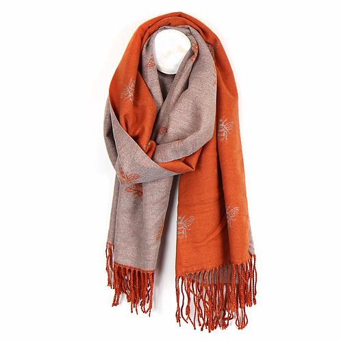 Reversible orange and taupe bee scarf