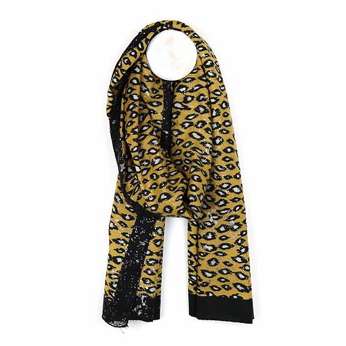 Mustard animal print scarf with metallic overlay