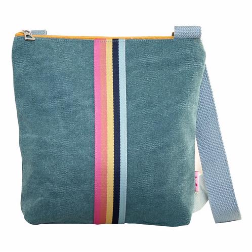 Messenger Bag With Stripes-Teal