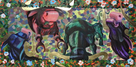 Young Bulls with golden Horns, 180x 90 cm
