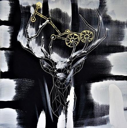 Zodiac Deer, 66x 66cm