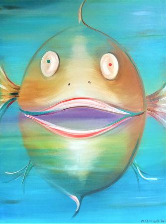 Big Bowie fish, 120x 90cm