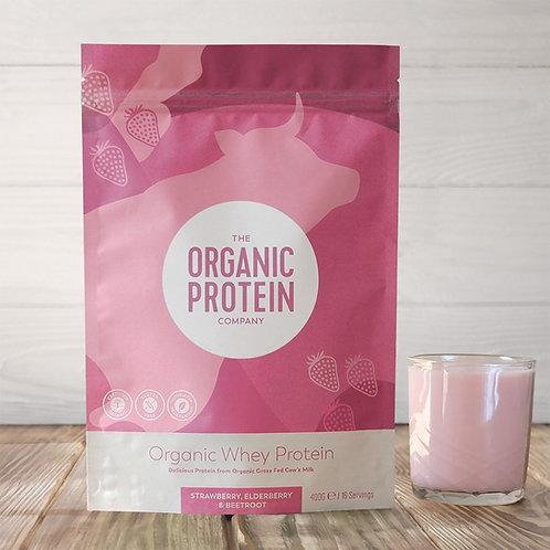 The Organic Protein Company Strawberry, Elderberry & Beetroot Whey Protein 600g